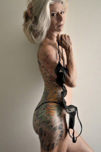 cool grandmother tattooed